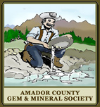 Amador County Gem & Mineral Society Logo - A miner gold panning in stream